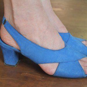 Vintage Shoes - Vintage 60's Blue Suede Shoes